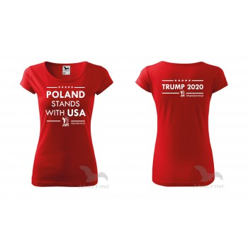 "koszulka ""Poland Stands With USA Trump 2020"" damska"