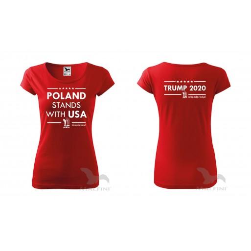 "koszulka ""Poland Stands With USA Trump 2020"" damska"