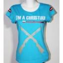 """koszulka """"Jestem chrześcijaninem"""" damska - turkusowy"""