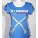 """koszulka """"Jestem chrześcijaninem"""" damska - lazurowy"""