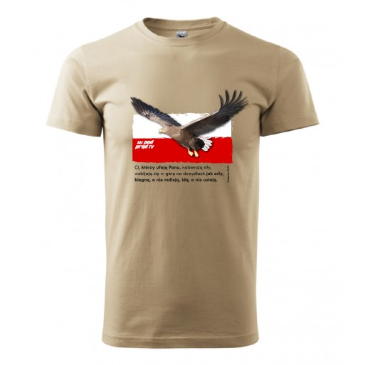 "koszulka ""Orzeł na tle flagi - z wersetem z Biblii"" męska"